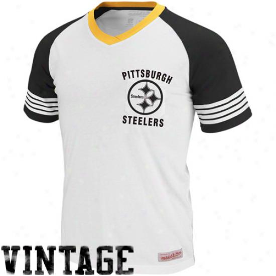 Steelers T-shirt : Mitchell & Ness Steelers White 1960 Vintage V-neck Raglan Premium T-shirt