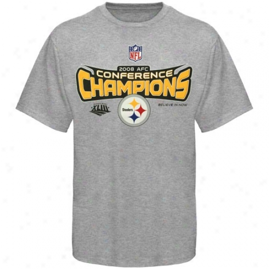Steelers T-shirt : Steelers 2008 Afc Champions Ash Conference Choice T-shirt
