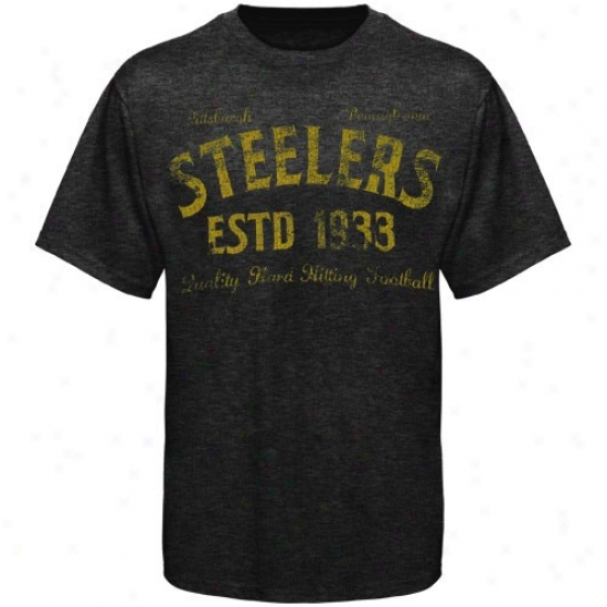 Steelers T-shirt : Steelers Black Dillinger Tri-blend Premium T-shirt