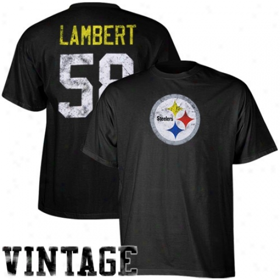 Steelers Tee : Reebok Steelers #58 Jack Lambert Retired Legends Name & Number Vintage Tee