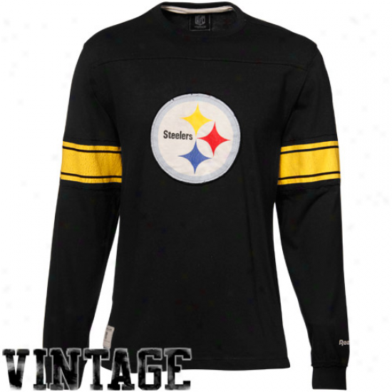 Steelers Tees : ReebokS teelers Black Vintage Applique Premium Long Sleeve Tees