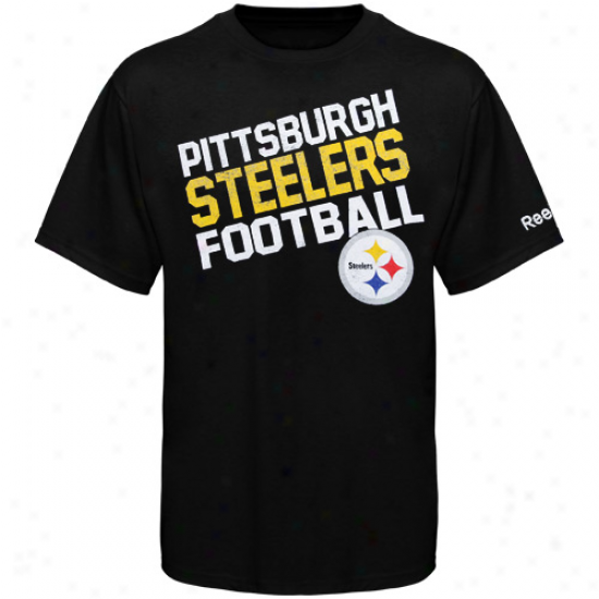 Steelers Tshirt : Reebok Steelers Youth Black Chant Loud Tshirt