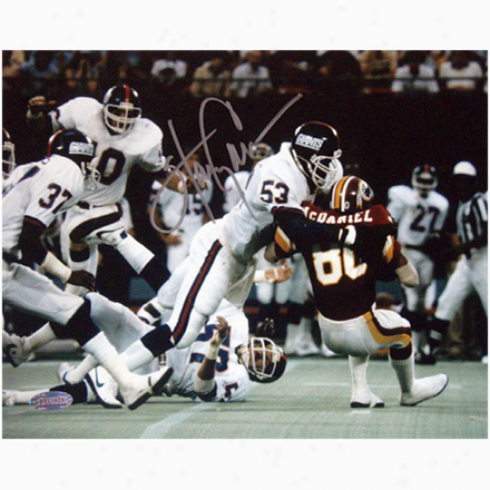 Steiner Sports New York Giants Autographed #53 Hqrry Carson Tackling Mcdaniel Of The Redskins 8'' X 10'' Landscape Photoograph