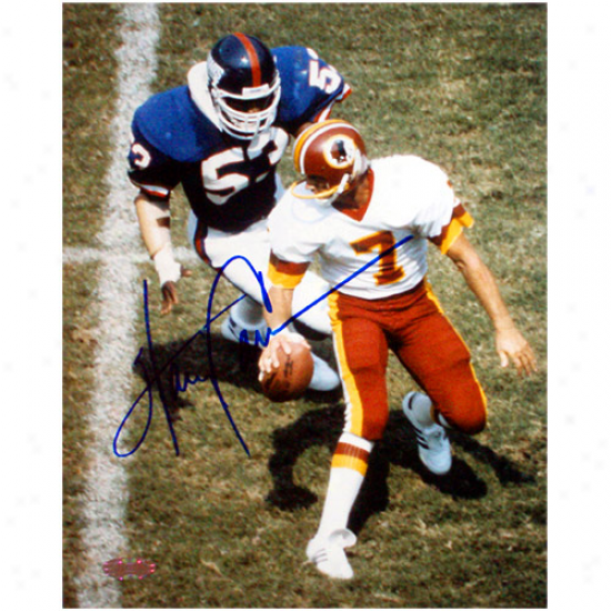 Steiner Sportss New York Giants Autographed #53 Harry Carson About To Sack Theismann 8'' X 10'' Portrait Photograph