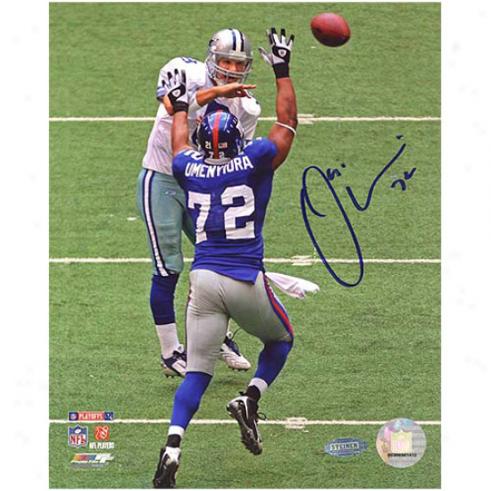 Steiner Sports New York Giants Autographed #72 Osi Umenyiora Pressuring Romo In Divisional Playoffs 8'' X 10'' Portrait Photograph