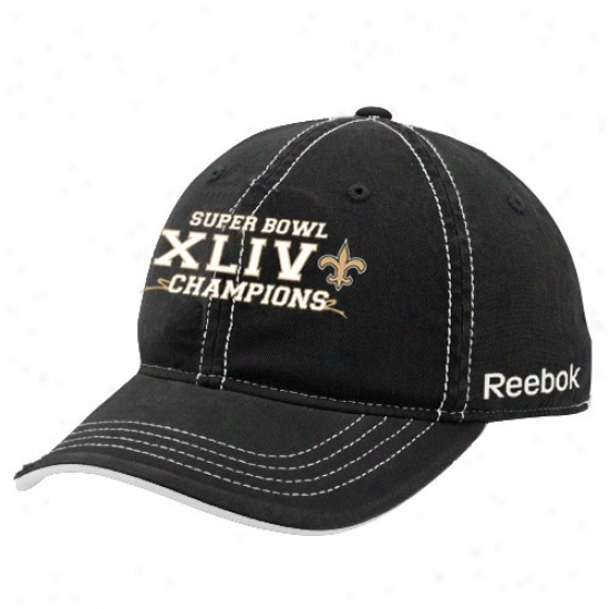 Super Bowl Hats Hats : Reebok New Orleans Saints Black Super Bowl Xliv Champions Slouch Flex Fit Hats