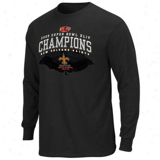 Super Bowl Merchandise Apparel: New Orleans Saints Black Super Bowl Xliv Champions Winners Take Long Sleeve T-shirt