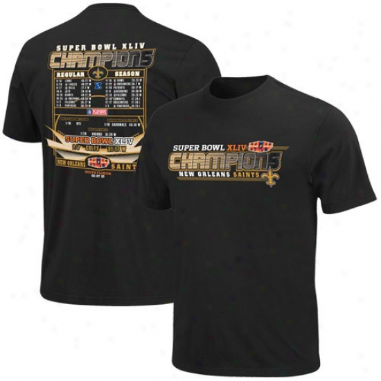 Super Bowl Merchhandise Aparel: New Orleans Saints Black Super Bowl Xliv Champions Championship Way Scroll T-shirt