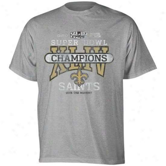 Super Bowl Merchandise Apparel: Reebok New Orleans Saints Youth Ash Super Bowl Xliv Champions Two Decades Ago Vintage T-shirt
