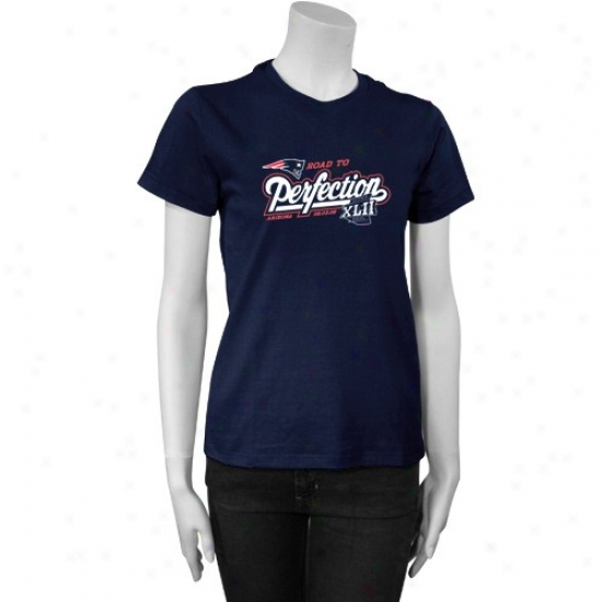 Super Bowl Merchandies Attire: New England Partiots Navy Ladies Road To Perfection Short Slee\/ed Tee