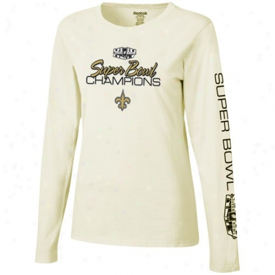 Super Bowl Commodities Attire: Reebok New Orleans Saints Ladies Cream Super Bowl Xliv Champions Swirly Long Sle3ve T-shirt