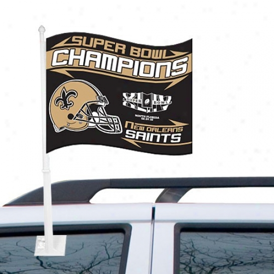 Super Bowl Merchandise Flag : New Orleans Saints Super Bowl Xliv Champioons Black Car Flag