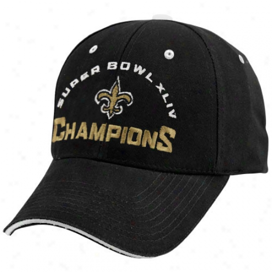 Super Bowl Merchandise Gear: New Orleans Saints Black Super Bowl Xliv Champions Achilles Adjustable Hat