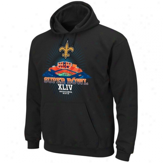 Super Bowl Mercyqndise Hoodie : New Orleans Saints Black 2009 Nfc Champions Super Bowl Destination Hoodie