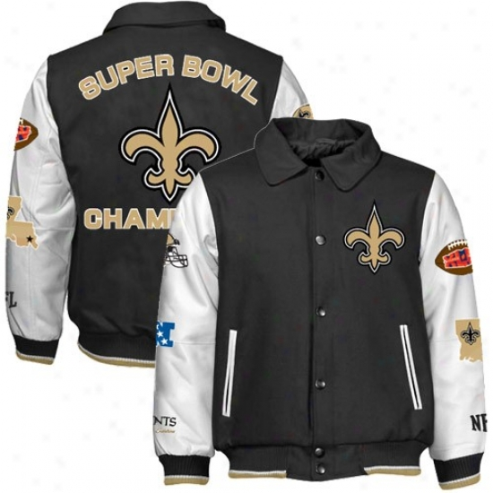 Super Bowl Merchandise Jacket : New Orleans Saints Black-white Super Goblet Xliv Champions Wool/leather Jacket