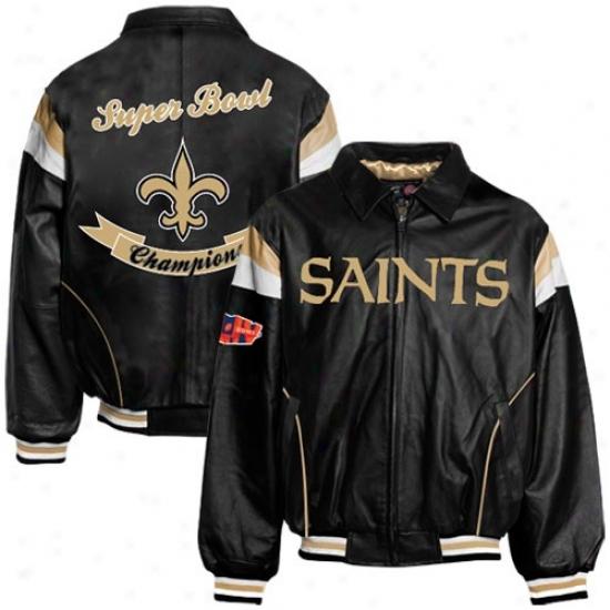 Super Bowl Merchandise Jacket : New Orleans Saaints Black Super Bowl Xliv Champions Leather Jacket