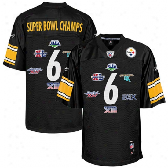 Super Bowl Merchandise Jersey : Reebok Pitttsburgh Steelers Black 6-time Super Bowl Champions Jersey