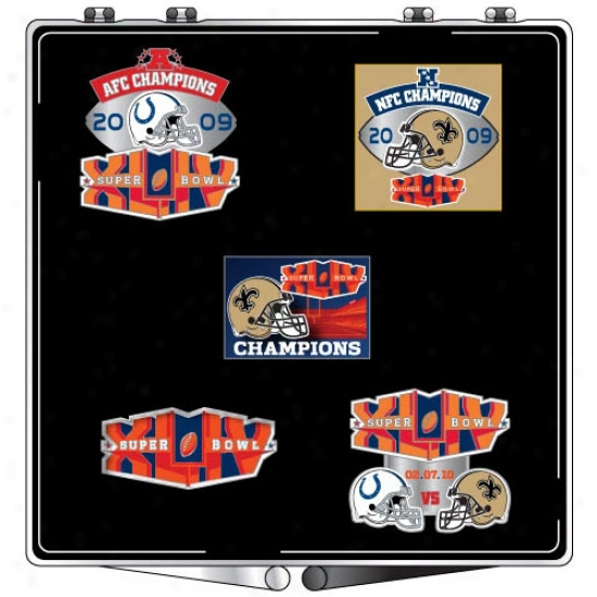 Super Bowl Merchandise Merchandise: New Orleans Saints Super Bowl Xliv Champions Collectible 5 Pin Set