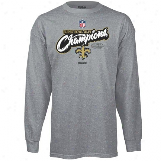 Super Bowl Merchandise Shirts : Reebok New Orleans Saints Ash Super Goblet Xliv Champioms Higher Ground Official Locker Room Long Sleeve Shirts