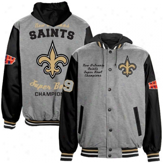 Super Bowl Merchandise Stuff: New Orleans Saints Ash-black Super Bowl Xliv Champions Cottom lFeece Full Buttpn Hoody Jacket