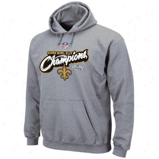 Super Bowl Merchandise Perspiration Shirt : New Orleans Saints Ash Super Bowl Xliv Champions Higher Ground Authoritative Locker Room Sweat Shirt