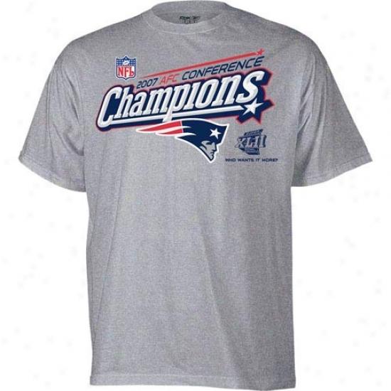 Super Bowl Merchandise T-shirt : New England Patriots Ash 2007 Afc Conference Champions Locker Room T-shi5t