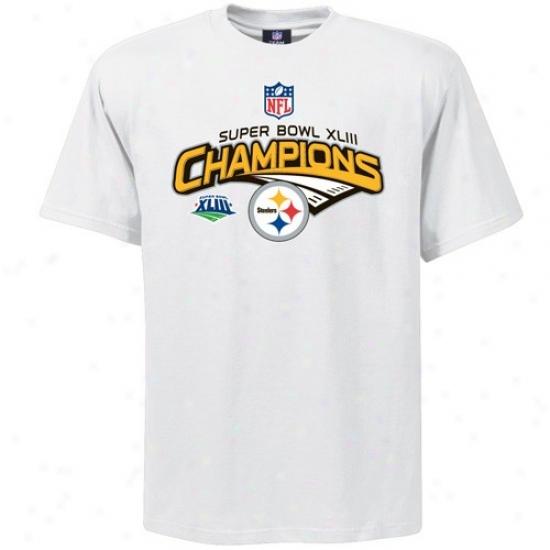 Super Bowl Merchandise T-shirt : Pittsburgh Steelers White Super Bowl Xliii Champions Locker Room T-shirt