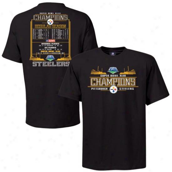 Super Bowl Merchandise T-shirt : Pittsburgh Steelers Black Super Bowl Xliii Champions Championship Way Schedule T-shirt