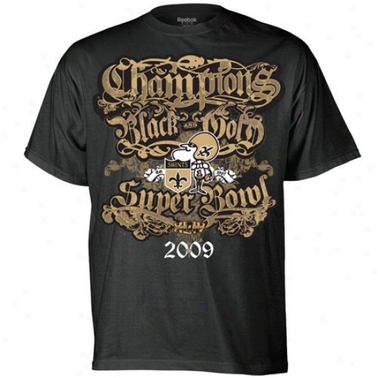 Supef Bowl Merchandise T-shhirt : Reebok New Orleans Saints Black Super Bowl Xliv Champions Wicked & Gold Gothic Champions T-shirt