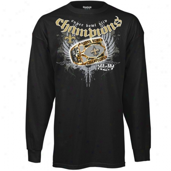 Super Bowl Merchandise T Shirt : Reebok New Orleans Saints Black Super Bowl Xliv Champoins Ring Around The Collar Long Sleeve T Shirt