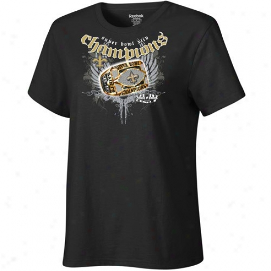Super Bowl Merchandise T Shirt : Reebok New Orleans Saints Ladies Black Super Bowl Xliv Champions Ring Around The Collar T Shirt