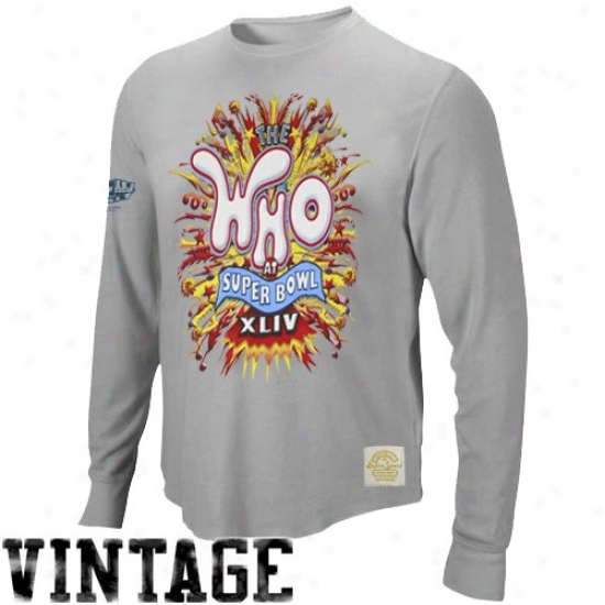 Super Bowl Commodities Tee : Reebok Super Bowl Xliv Gray Explosion The Who Super Soft Premium Long Sleeve Thermal Tee