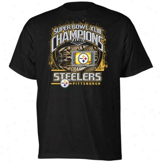 Super Bowl Mrdchandise Tees : Reebok Pittsburgh Steelers Black Super Bowl Xliii Champions Ring By The Bay Tees
