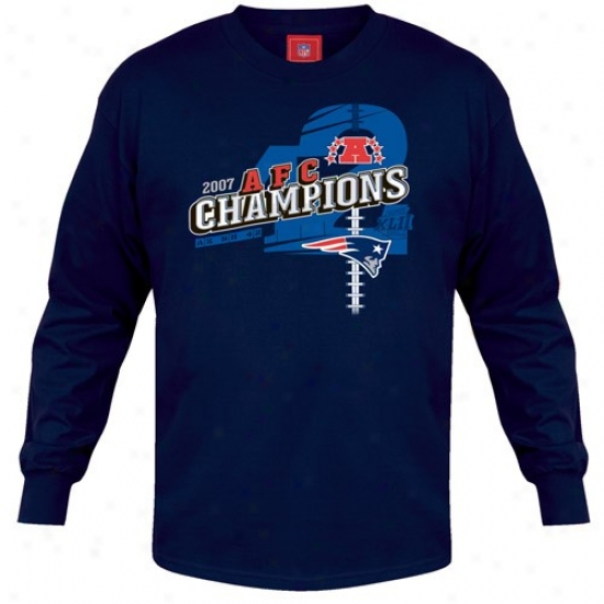 Super Bowl Merchandise Tshirt : New England Patriots Navy Blue 2007 Afc Conference Champions Angled Long Sleeve Tshirt