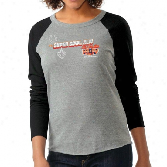 Super Bowl Merchandise Tshirt : New Orleans Saints Vs. Indianapolis Colts Super Bowl Xliv Bound Ladies Ash Raglan Premium Trinlend Throughout Sleeve Durling Tshirt