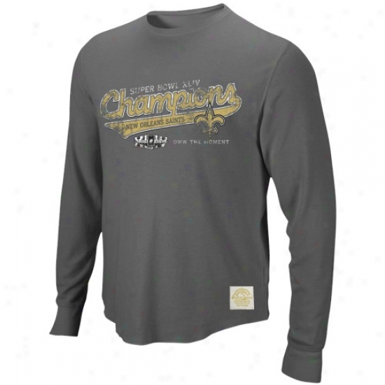Super Bowl Merchandise Tshirt : Reebok New Orleans Saints Charcoal Super Bowl Xluv Champions Tail Script Premium Super-soft Long Sleeve Tshirt