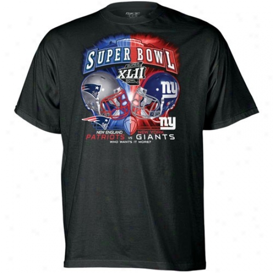 Super Bowl Merchandise Tshirts : Reebok New England Patriots Vs. New York Giants Murky Youth Fight Night Super Bowl Xlii Dueling Tshirts