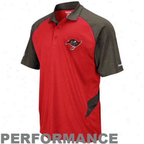 Tampa Bay Buccaneer Clothes: Reebok aTmpa Bay Buccaneer Red-pewter Sideline Statement Performance Polo
