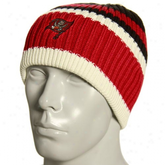 Tampa Bay Buccaneer Hat : Reebok Tampa Bay Buccaneer Natural Team Color Striped Knit Beanie
