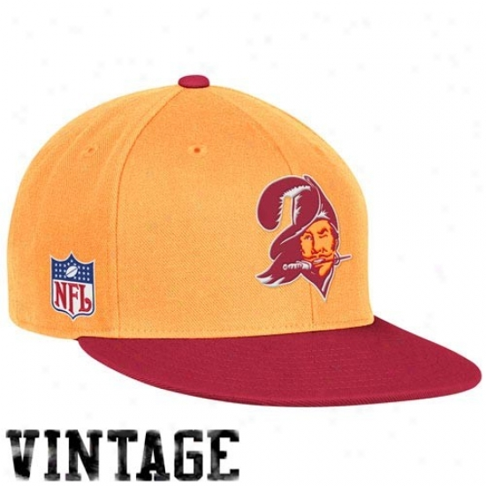 Tampa Bay Buccaneer Hat : Reebok Tampa Bay Buccaneer Red-o5ange Glaze Throwback Fitted Hat