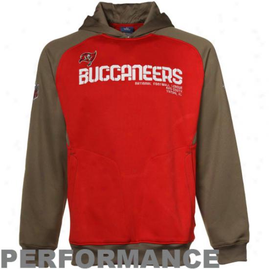 Tampa Bay Buccaneer Hoodies : Reebok Tampa Bay Buccaneer Buccaaneer Red-pewter Sideline Performance Pullover Hoodies