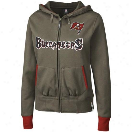 Tampa Bay Buccaneer Hoody : Reebok Tampa Bay Buccaneer Ladies Pewter Chhaant Full Zip Hoody