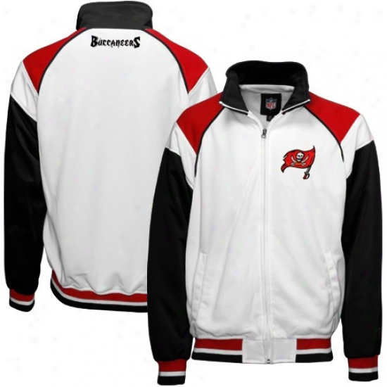 Tampa Desperation Biccaneer Jackets : Tampa Bay Buccaneer White Harness Twill Logo Full Zip Jackets
