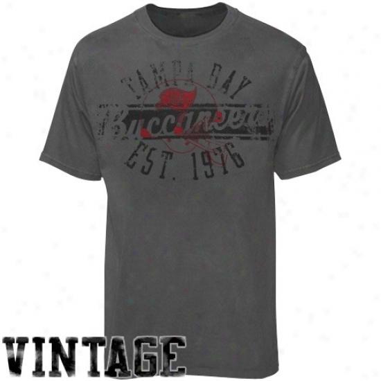 Tampa Bay Buccaneer Shirts : Reebok Tampa Bay Buccaneer Charcoal Flank Formation Vintage Shirts