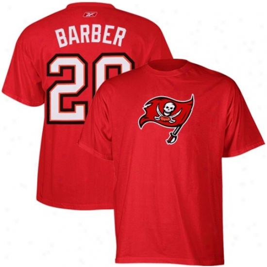 Tampa Bay Buccaneer T-shirt : Reebok Tampa Bay Buccaneer #20 Ronde Barber Red Scrimmage Gear T-shirt