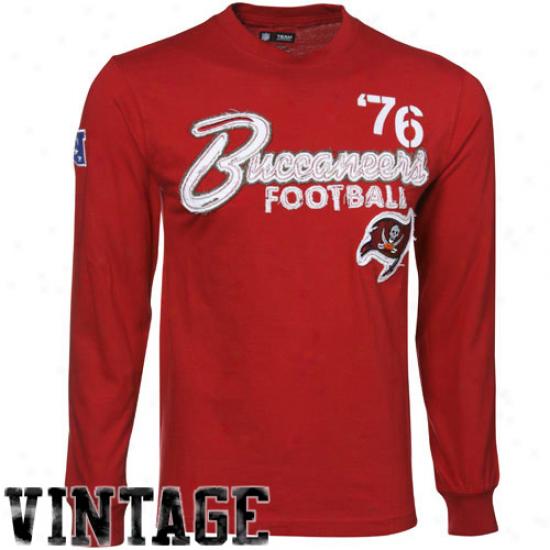 Tampa Bay Buccaneer T-shirt : Tampa Bay Buccaneer Red Corner Bpitz Sueded Long Sleeve Premium Vintage T-shkrt