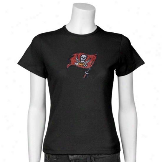 Tampa Bay Buccaner T-shirt : Tampa Bay Buccaneer LadiesB lack Rhinestone Logo T-shirt