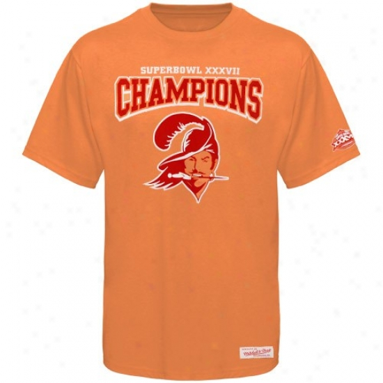Tamoa Bay Buccaneer Tee : Mitchell & Ness Tampa Recess  Buccaneer Orange Throwback Logo Super Bowl Champions Tee