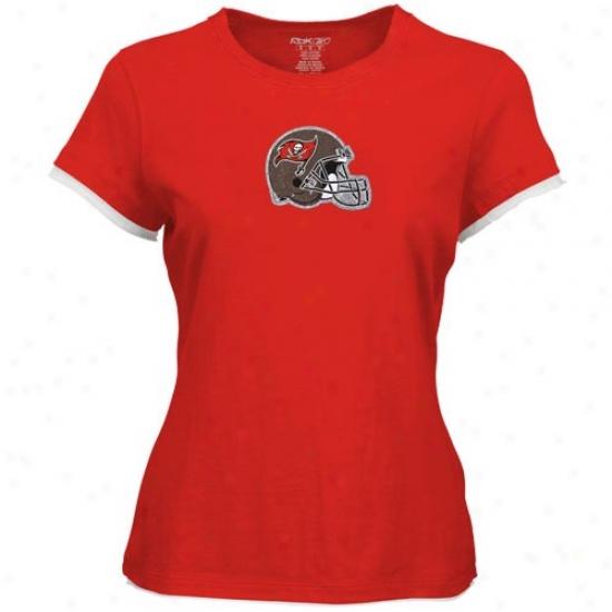 Tampa Bay Buccaneer Tees : Reebok Tampa Bay Buccaneer Red Ladies Shiny Helmet Tees
