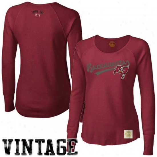 Tampa Bay Buccaneer Tees : Reebok Tampa Bay Buccaneer Ladies Red Tail Range Long Sleeve Premium Thermal Tees